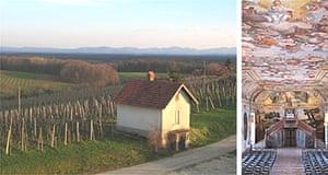 Slovenian vineyards and the great hall at Posavski Castle, Brezice