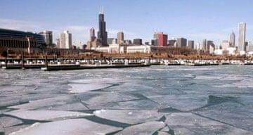 Ice floating in Burnham Harbour, Chicago