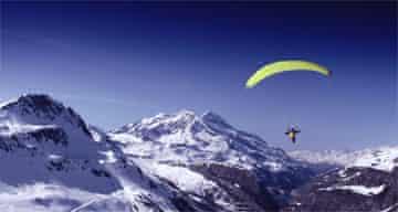 Parachutist in the Alps