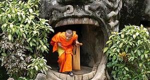 A Monk in Buddha park, Laos