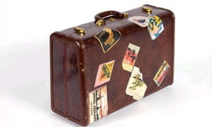Old-fashioned suitcase with labels