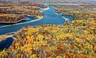 Autumn colours paint the landscape around the Mississippi River near Brainerd, Minnesota