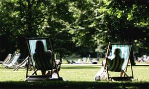 Sunbathing in St James Park, London