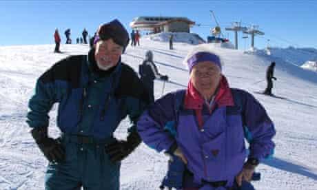 Senior skier Alan Bevan (right) with friend Geoff
