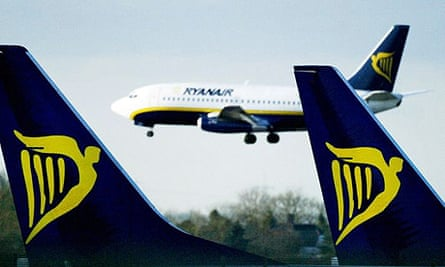 A Ryanair jet lands at Stansted airport