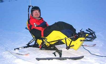 John Horan on a ski cart