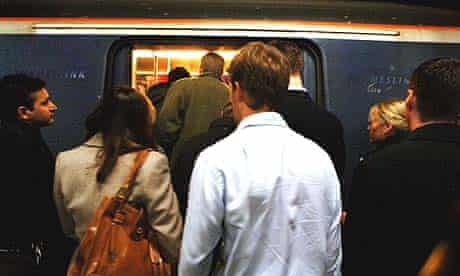 Crowded commuter train