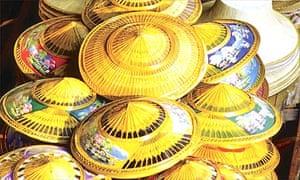 Hats for sale in Bangkok market