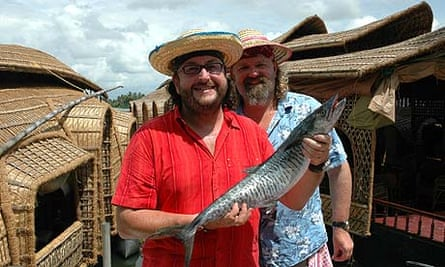 Hairy Bikers holding a big fish