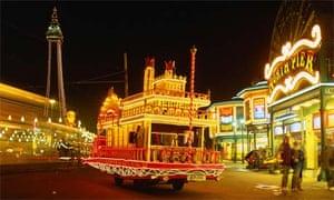 Holiday fun: Blackpool beach at night