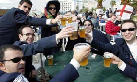British lads drinking abroad
