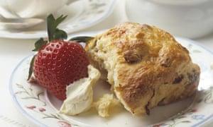 Cream tea with scone and strawberry