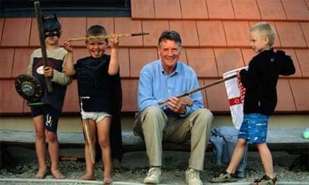 Michael Palin and children near Tallinn, Estonia