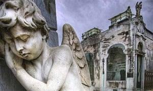 Angel Sculpture in Recoleta Cemetery in Buenos Aires