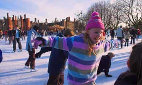 Ice-skating at Hampton Court, UK