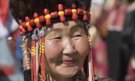 Mongolian woman in traditional dress