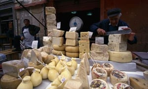 Cheese at a food market in Sicily