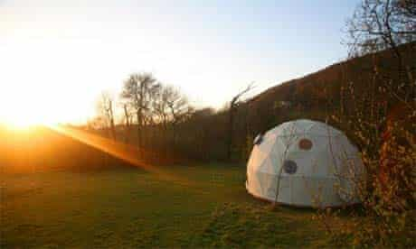 Camping dome in Wales