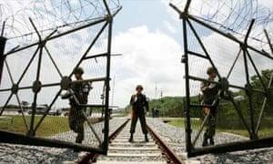 Train tracks pass near North Korea's demilitarized zone (DMZ)