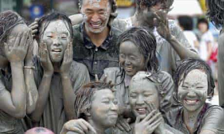 Mud on the beach during the Boryeong Mud Festival, South Korea