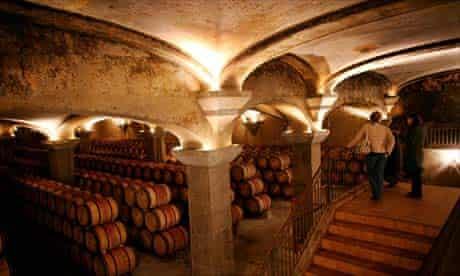 A wine cellar in Bordeaux, France