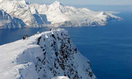 Lyngen fjord in the Lyngen Alps, Norway