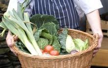 A basket of home-grown veg from Brown Horse Inn