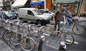 'Velib' rental bicycles in central Paris
