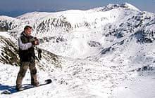 Snowboarder in Slovakia's Low Tatra Mountains