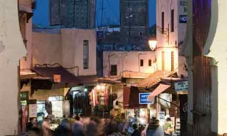 An idyllic place to Christmas shop: Bab Bou Jeloud Gate, Fes El-Bali in Fes, Morroco