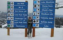 Kate Rew skiing in Montana