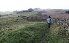 Walking along Hadrian's Wall, Northumberland, UK