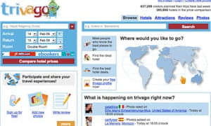 Screen shot of Trivago travel website