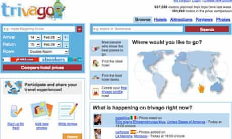 Screen shot of Trivago travel website