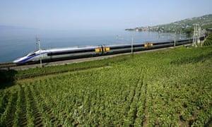 The Cisalpino II train passes the vineyards of Epesse, Switzerland