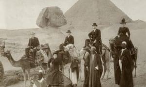 Victorian British tourists visiting the Pyramids of Giza