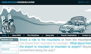 Mountainrideshare.com website screen grab