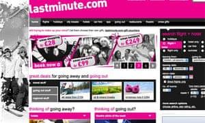 Lastminute.com website screen grab