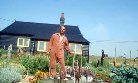 Derek Jarman in the garden at his home in Dungeness