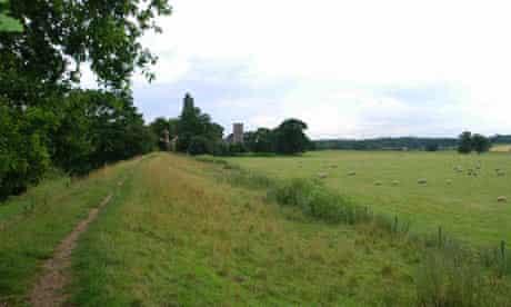 Walking Boudica's Way path in Norwich, Norfolk