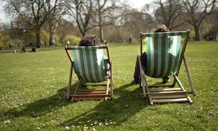 Visitors in St James Park in central London