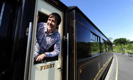 Patrick Barkham travelling on the newly Welsh Highland Railway extension in Snowdonia