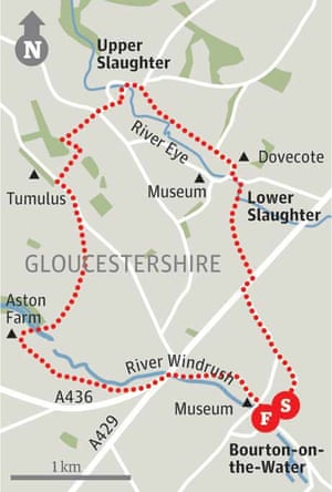 Map of Bourton-on-the-Water, Gloucestershire