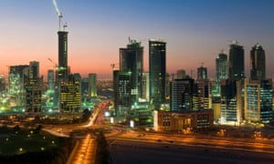Qatar's West Bay financial district in Doha is the grand project of the Emir