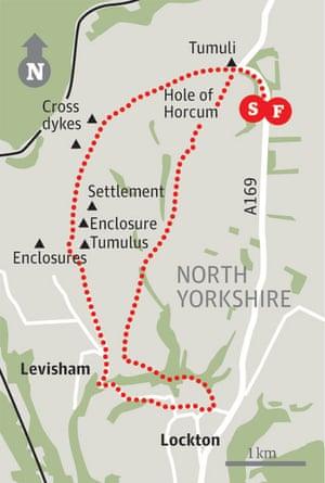 Map of Hole of Horcum walk