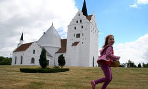Kevin Rushby's daughter Maddy in a churchyard in Fyn, Denmark