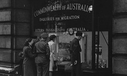 Looking in Emigration Office for Australia in 1945