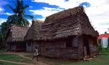 Ethno-tourism:  Grass hut in Garifuna settlement of Tacamacho, Honduras