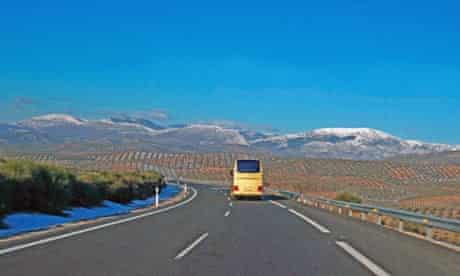 Bus on the motorway, Spain