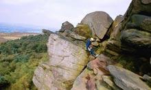 Rock climbing in the Peak District.